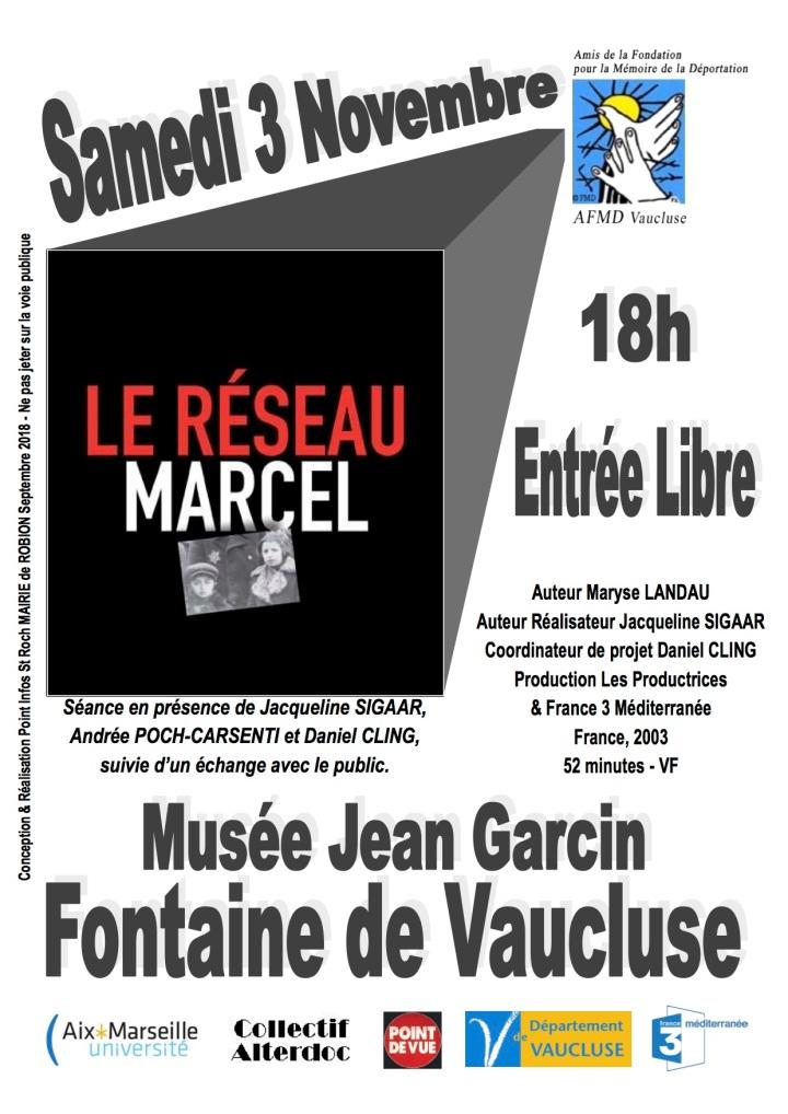 Affiche Projection Le Réseau Marcel AFMD 84 - Fontaine de Vaucluse 3 Novembre 2018